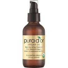 PURA D'OR marocaine Huile d'Argan 100% Pure & USDA Organic pour le visage, les cheveux, la peau et ongles, 4 Fluid Ounce