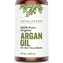 Aria Starr Beauty ORGANIC Argan Oil For Hair, Skin, Face, Nails, Beard & Cuticles - Best 100% Pure Moroccan Anti Aging, Anti