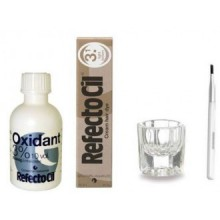 Crème Brown RefectoCil COLOR KIT- Lumière cheveux Dye + Liquid Oxidant 3% Dish 1.7oz Mélange Brosse + Mélange