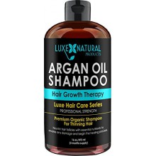 Luxe Natural Products Argan Oil Shampoo Professional Strength - Hair Growth Therapy 16 oz - Hair Loss, Regrowth, Thinning, &