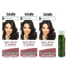 Cosamo -Love Your Color- Ammonia & Peroxide Free Hair Color 765 Medium Brown (Pack of 3) with One Jarosa Beauty Bee Organic
