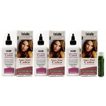 CoSaMo Love Your Color, No Ammonia, No Peroxide Hair Color, 738 Natural Dark Blonde (3 Pack) with 1- Jarosa Beauty Bee