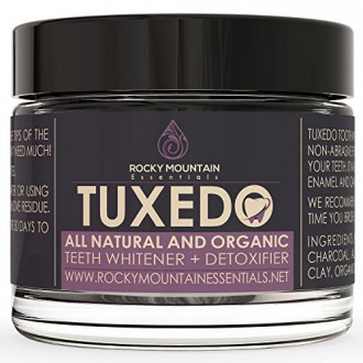 All Natural Charcoal Teeth Whitening, 'Tuxedo' Tooth and Gum Powder By Rocky Mountain Essentials. Coconut Activated Charcoal