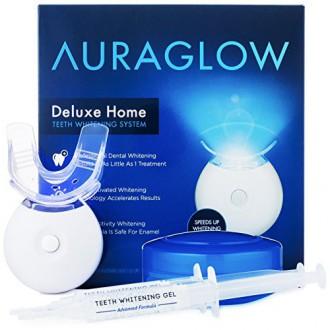 AuraGlow dientes kit de blanqueamiento, luz del LED, el 35% de peróxido de carbamida, (2) de 5 ml Gel jeringas, la bandeja y la