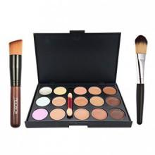 Kit Ucanbe 15 color Concealer Crema Contorno con pinceles de maquillaje Fundación Pro Corrector Contorno Cara Polvo