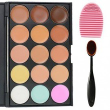 EVERMARKET 15 Colors Professional Concealer Camouflage Makeup Palette Contour Face Contouring Kit + 1 PC Premium Oval Make