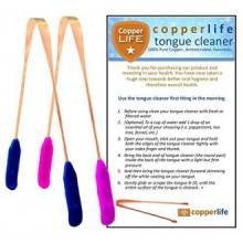 100% Copper Tongue Cleaner Scraper 2-Pack Antibacterial for Optimal Oral Hygiene / His & Hers / Home & Travel