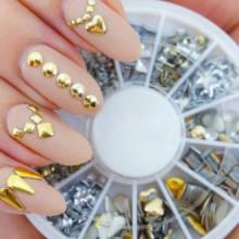 Profesional clavo de la alta calidad 3D de la rueda de manicura decoraciones del arte con oro y plata Postes del metal en 12 div