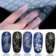 108pcs de plata de la flor 3D para las uñas Pegatinas Adhesivos estampa las herramientas de la decoración de DIY