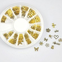 350buy 12*10pcs Nail Art Gold Metal Slice Stickers Design Decoration Wheel for Nail Art
