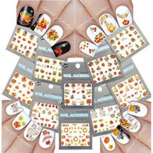 Nail Art Water Slide Tattoo Decals ♥ Fall Into Fun Thanksgiving Theme - 10 Pack