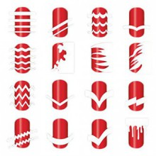 BTArtbox 12 Packs Over 36 Different Designs Tip Guide Nail Vinyl Self-adhesive Nail Stencil Sticker Easy Nail Art Set for