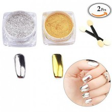 MLMSY 2 Box Mirror Powder Gold Silver Pigment Nail Glitter Nail Art Chrome with Matching Brushes(Silver+Gold)