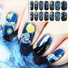 Bluezoo Full Nail Art Sticker Van Gogh's Starry Night Fullnail Stickers,14 Decals/sheet (Pack of 2 Sheets)
