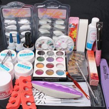 24in1 Nail Art Gel UV Nail Tips Top Coat Glue Décorations complètes Outils de bricolage Set by RY