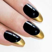 Bling Stiletto Art Faux ongles Faux Or Acrylique Noir Full Cover Medium Tips UK