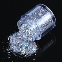 ECBASKET 1 Jar Hottest Nail Hexagon Shinning Silver Glitter Poudre Glitter Slices