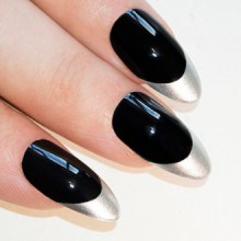 Bling Stiletto Art Faux ongles Faux acrylique Noir Argent Full Cover Medium Tips UK