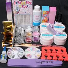 Expédié CA, USA 20 en 1 Nail Art Rose Clear White UV Kit Gel Guide Tampon Brosse UV Toe Seperator Glitter Powders outil