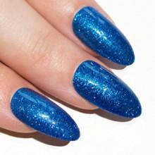 Bling Stiletto Art Faux Ongles Gel Faux acrylique Marina Gel Blue Glitter Medium Tips UK