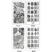 Ejiubas 2 Pcs double face Henna Floral Egypte Stamping Nail Assiettes Nail Art Designs manucure