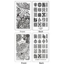 Ejiubas 2 Pcs double face Henna Floral Egypte Stamping Nail Assiettes Nail Art Designs manucure