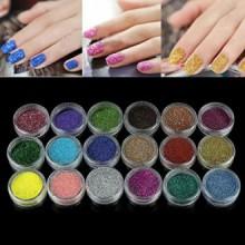 AMA (TM) 18 Couleurs Nail Glitter Powder Shinning Nail Mirror Powder Makeup Art Chrome Pigment pour UV GEL Poudre Acrylique
