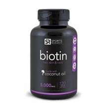 Biotine (Suractivé) 5000mcg Par Veggie Softgel- amélioré avec l'huile de coco pour une meilleure absorption- soutient la croissa