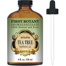 Tea Tree Oil (Australian) 4 Fl.oz. with Glass Dropper By First Botany Cosmeceuticals. 100 % Pure and Natural Premium Quality