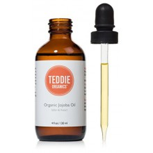 Teddie Organics Golden Jojoba Oil 100% Pure Organic Cold Pressed and Unrefined 4oz - Natural Oil Moisturizer for Face Hair