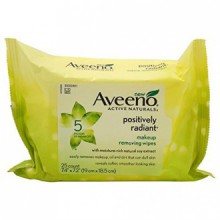 Aveeno Maquillage Positively Radiant Retrait Lingettes, 25 Count