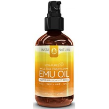 InstaNatural Emu Oil - Pure Moisturizer for Strengthened Hair, Stretch Marks, Scars, Joint & Muscle Pain - All in One for