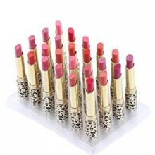 Abody 12 Colors 24pcs Leopard Print Lipsticks Moisturizing Lip Balms Set Waterproof Long Lasting