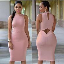 Casual manches Parti robe de soirée Fashion Backless Dress Sexy TR.OD femmes Summer L-Rose