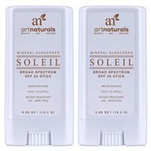 Naturals Arte SPF 50 Stick protector Solar 0,7 oz - Pack de 2 - Resistente al Agua 80 Minutos - Con la mejor Naturales y Orgánic