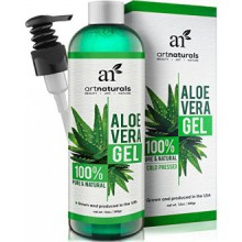 Art Naturals Aloe Vera Gel for Face, Hair & Body - Organic, 100% Pure Natural & Cold Pressed 12 Oz - For Sun Burn, Eczema,