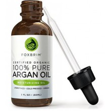 Foxbrim Organic Argan Oil - Unrefined, Virgin & Cold Pressed Moroccan Oil - For Hair, Skin & Nails - 60mL/2oz