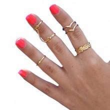 Anillo de uñas Mokingtop®Bling oro de las mujeres del corazón de junta articulada conjunto de seis anillos