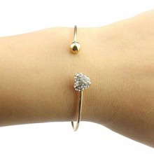 TONSEE Girl Simple Style Love Heart Rhinestone Pendant Open Bangle Bracelet