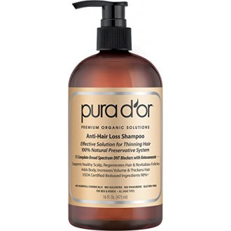 PURA D'OR Anti-Hair Loss Premium Organic Argan Oil Shampoo (Gold Label), 16 Fluid Ounce