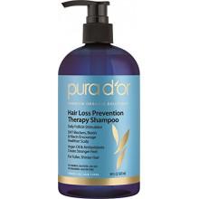 PURA D'o caída del cabello Prevención de la terapia de primera calidad orgánica aceite de argán Champú, 16 onza líquida