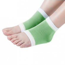 webueat Gel Moisturizing Socks Soft Repair Dry Cracked Heel,Green-White