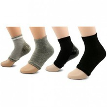 AYAOQIANG Moisturizing Open Toe Gel Heel Socks,Spa Socks for Dry Hard Cracked Skin -2 Pair(Black and Grey)
