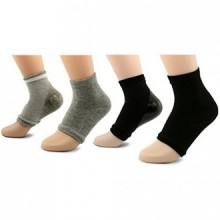 AYAOQIANG Moisturizing Open Toe Gel Heel Socks,Spa Socks for Dry Hard Cracked Skin -2 Pair(Black and Grey)