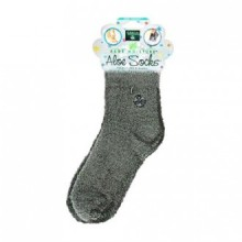 EARTH THERAPEUTICS SOCKS,ALOE INFUSED,GREY, PAIR