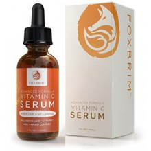 Foxbrim Vitamine C Sérum pour le visage, 1 fl oz. - BEST Sérum Anti-Aging - Vegan Acide Hyaluronique et Amino Complex - Premium