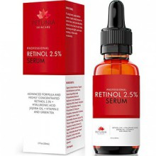 Meilleur rétinol sérique de 2,5% avec l'Acide Hyaluronique + Huile de Jojoba + vitamine E et le thé vert pour le visage - Natura