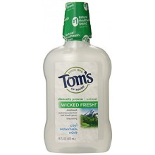 Tom's of Maine Long Lasting Wicked Fresh Cool Mountain Mint Mouth Wash, 16 Ounce Bottles, Pack of 6