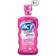 ACT Enfants anticavité Fluoride Mouthwash, Bubble Gum Blow Out 16,9 oz (Pack de 4)
